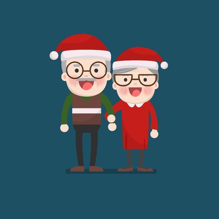 Christmas, Retired elderly senior age couple in creative flat vector character design | Grandpa and grandma standing full length smiling