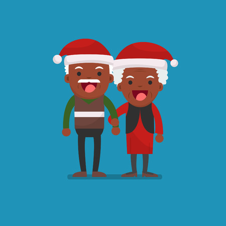 Christmas, African american people - Retired elderly senior age couple in creative flat vector character design | Grandpa and grandma standing full length smiling