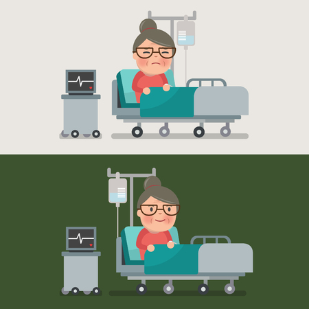 woman lying in bed: grandma resting at hospital bed with intravenous saline solution Illustration