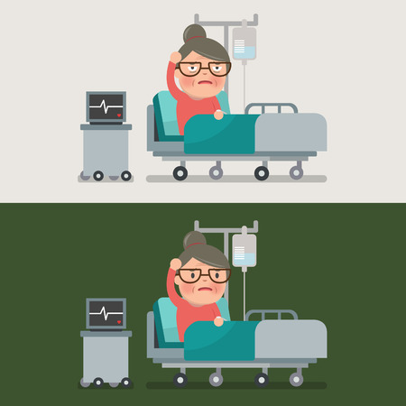 recovering: grandma resting at hospital bed with intravenous saline solution Illustration