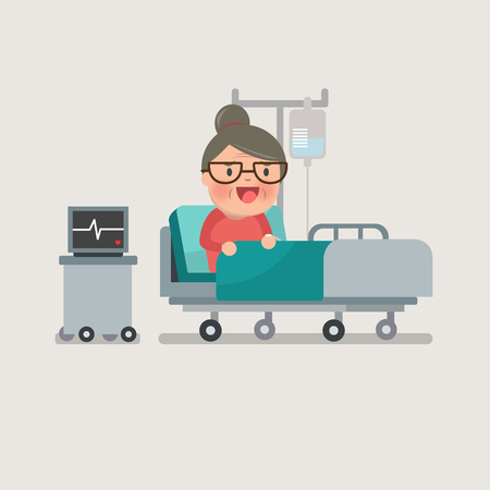 grandma resting at hospital bed with intravenous saline solution Illustration