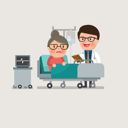 saline: A medical caucasian patient grandma being treated by an expert doctor in a hospital room. flat design illustrations. Illustration