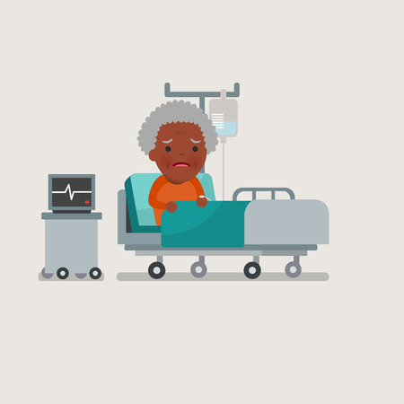 recovering: African american people - grandma resting at hospital bed with intravenous saline solution