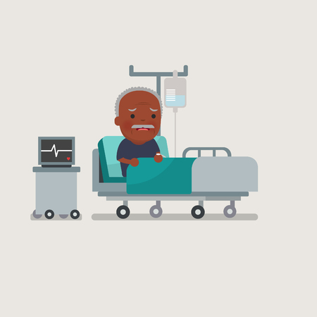 recovering: African american people - old man resting at hospital bed with intravenous saline solution