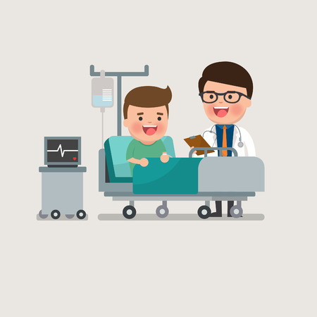 recovering: A medical caucasian patient man being treated by an expert doctor in a hospital room. flat design illustrations.