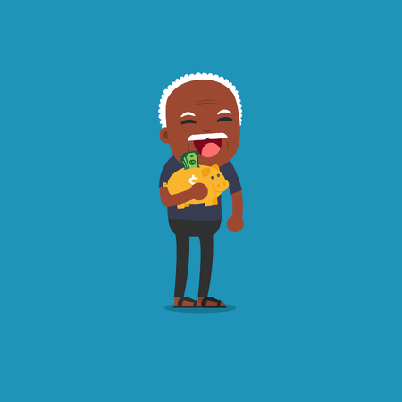 African american people - Old man with golden piggy bank, Pension Illustration