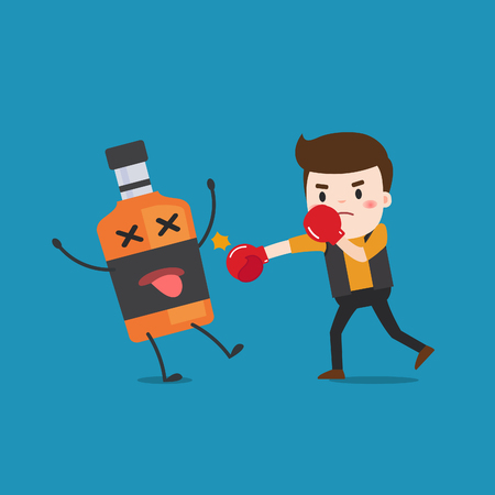 punched out: man punching liquor bottles to knock out. This illustration description to fighting for stop drinking alcohol. Illustration
