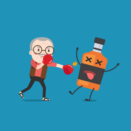 fighting cancer: grandpa punching liquor bottles to knock out. This illustration description to fighting for stop drinking alcohol.