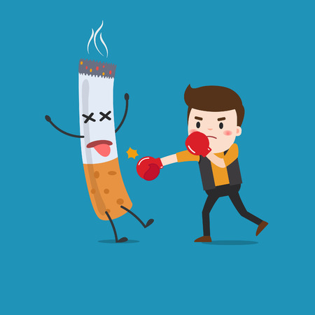 vector illustration of a cartoon fight against nicotine addiction. This illustration meaning to fighting for stop smoking.  イラスト・ベクター素材