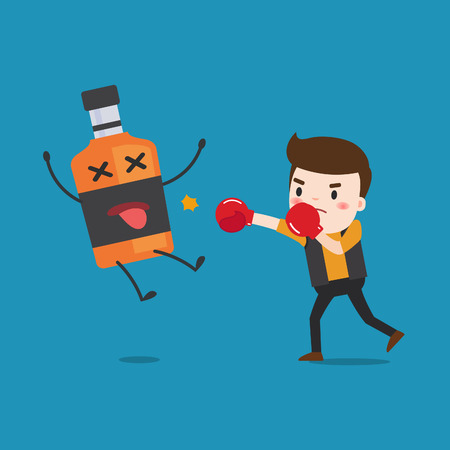 knock out: man punching liquor bottles to knock out. This illustration description to fighting for stop drinking alcohol. Illustration