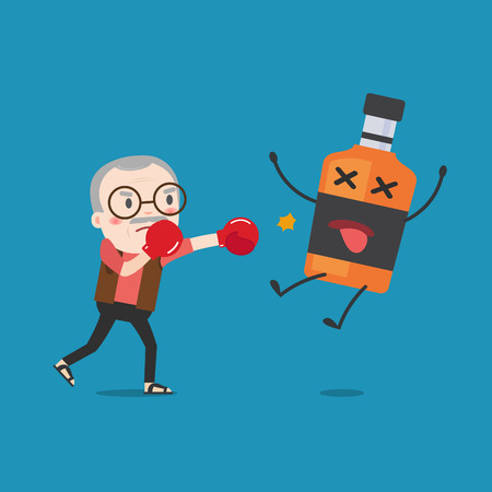 punched out: grandpa punching liquor bottles to knock out. This illustration description to fighting for stop drinking alcohol.