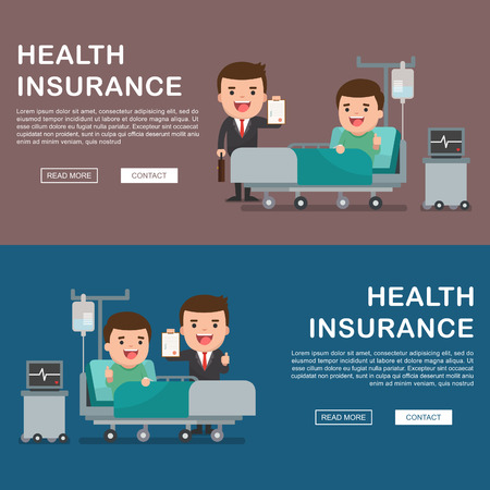 insure: A vector illustration of a man in the hospital injured and insurance Services Concept for banner, Health insurance concept. Protection health. Care medical. Healthcare concept.