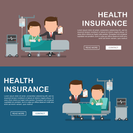 insurance claim: A vector illustration of a man in the hospital injured and insurance Services Concept for banner, Health insurance concept. Protection health. Care medical. Healthcare concept.