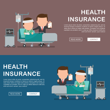 hospital patient: A vector illustration of a man in the hospital injured and insurance Services Concept for banner, Health insurance concept. Protection health. Care medical. Healthcare concept.