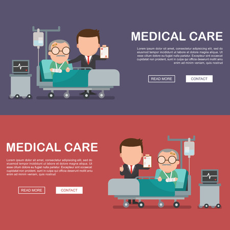 A vector illustration of a old man in the hospital injured and insurance Services Concept for banner, Health insurance concept. Protection health. Care medical. Healthcare concept.