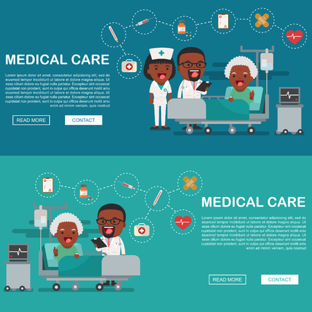insurance claim: A vector illustration of a grandma in the hospital injured and insurance Services Concept for banner, Health insurance concept. Protection health. Care medical. Healthcare concept. Illustration