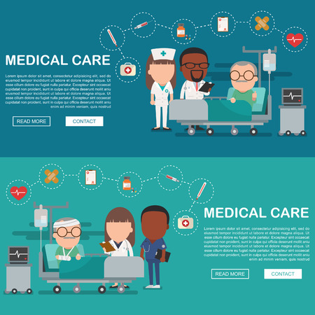 insure: A vector illustration of a old man in the hospital injured and insurance Services Concept for banner, Health insurance concept. Protection health. Care medical. Healthcare concept.