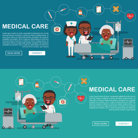 A vector illustration of a grandma in the hospital injured and insurance Services Concept for banner, Health insurance concept. Protection health. Care medical. Healthcare concept. Иллюстрация