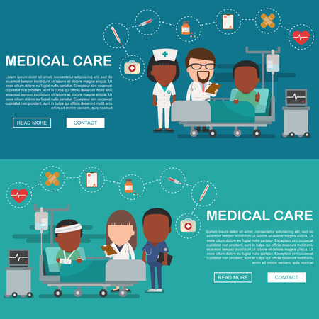 A vector illustration of a man in the hospital injured and insurance Services Concept for banner, Health insurance concept. Protection health. Care medical. Healthcare concept.