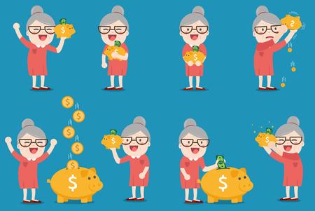grandma with golden piggy bank, Pension