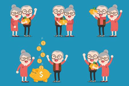 Hogere mensen met gouden spaarvarken, Pension Stock Illustratie