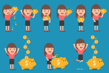 business woman with golden piggy bank, Pension