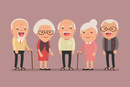 Group of elderly people stand together on background. Vector illustration in creative flat vector character design Иллюстрация