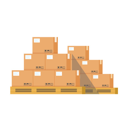 Cardboard boxes on a pallet vector illustration, flat style