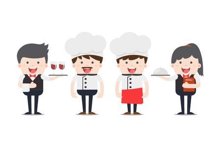 Restaurant staff characters set Illustration
