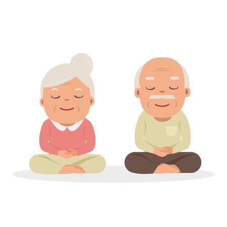 grandparents doing yoga exercise. Vector cartoon illustration. Yoga for grandparents.