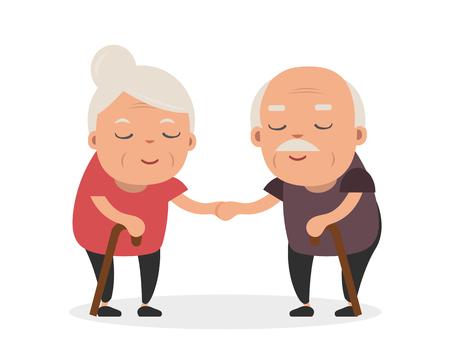 Retired elderly senior age couple in creative flat vector character design | Grandpa and grandma standing full length smiling