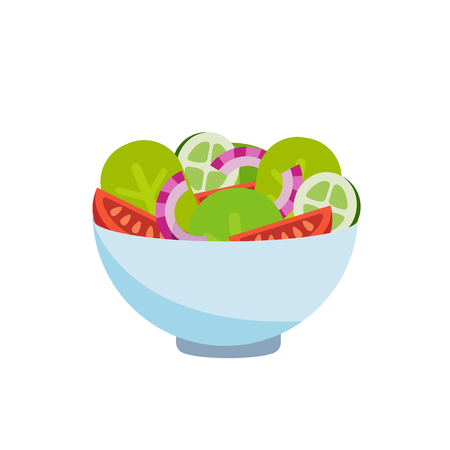 Bowl of fresh vegetable salad, healthy food. Flat style. Vector illustration isolated on white background. Иллюстрация