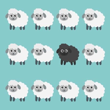 Schwarze Schafe in der Herde. VEKTOR