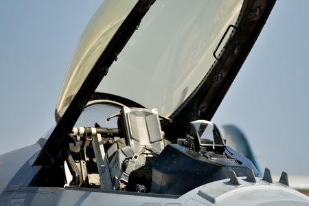 aviators: F16 falcon cockpit under opened canopy at air show ,Don meang airport Bangkok Thailand