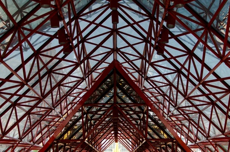 roof framework: Red steel structure