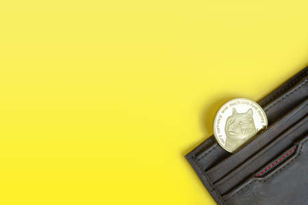 Dogecoin or Doge crypto currency coin with dog's face in brown leather wallet on yellow background with copy space. Banner with space for text.