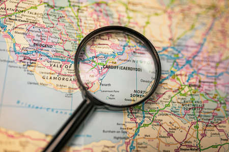 Map of Cardiff through magnifying glass, UK