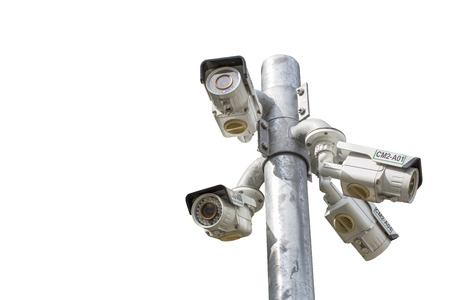 bullet camera: Isolated of Multiple Angle Outdoor CCTV Camera on the Pole