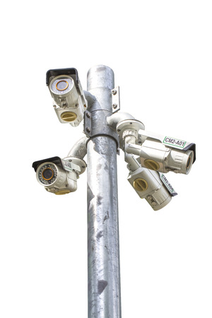 under surveillance: Isolated of Multiple Angle Outdoor CCTV Camera on the Pole