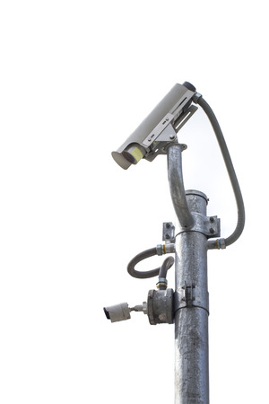 ip camera: Isolated of Outdoor CCTV Camera on the pole