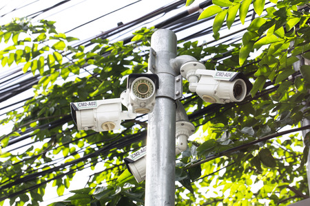 under surveillance: Multiple Angle Outdoor CCTV Camera on the Pole near the Tree