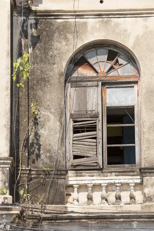demolish: Old Wooden Window on the Abandoned Building