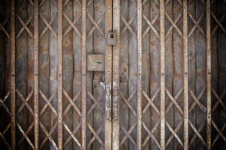 locked: Locked Foldable Rusted Steel Door