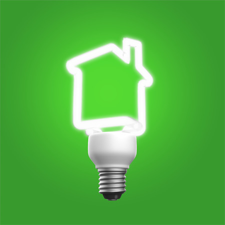 green technology: Lamp as the house representing the green technology.