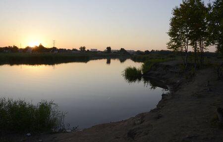 Evening on the Tobol River in Kazakhstan. 写真素材
