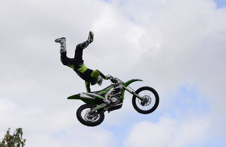Stunt motorcyclists perform at the City Day festival in Chelyabinsk.