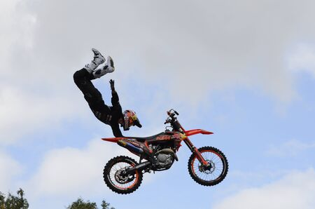 Demonstration performances of stunt motorcyclists on the Day of the city of Chelyabinsk, Russia. Stok Fotoğraf