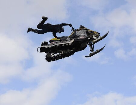 Demonstration performances of stunt motorcyclists on the Day of the city of Chelyabinsk, Russia. 写真素材