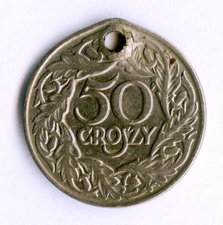 Old Polish 50 grosz coin from 1933. It was taken by Soviet soldiers as a trophy and was used by Bashkir women as an element of decoration.