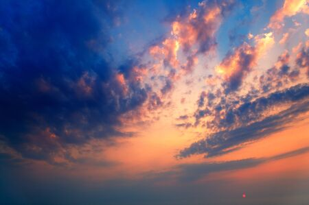 morning blue hour: Dramatic sunrise with colourful cloudscape.